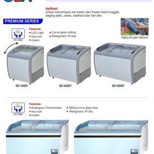 Jual sliding curve glass freezer